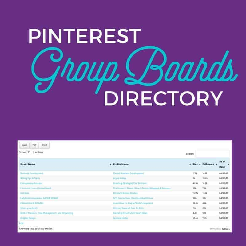 Free Resource Pinterest Group Boards Directory