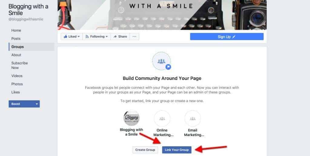 how to connect link a facebook page to a group