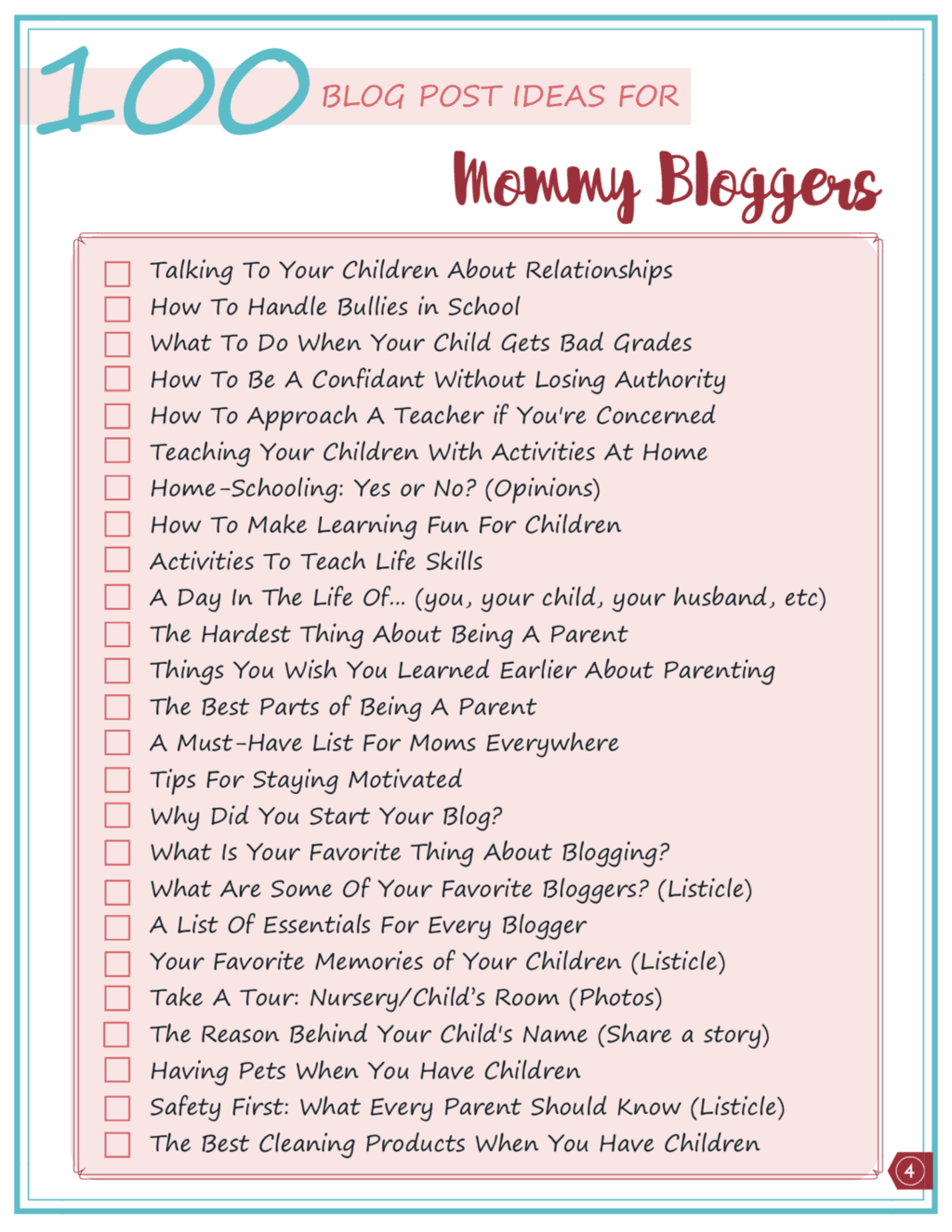 Printable checklist of 100 mom blog ideas to inspire you!